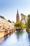 Beautiful Church of Our Lady Bruges view in summer Stock Photos