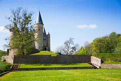 Beautiful Castle of Veves view during sunny day - stock photo
