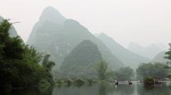 China, yangshuo, yulong river and karst peaks Stock Footage