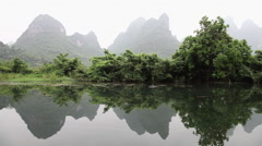 Stock Video Footage of China, yangshuo, yulong river and landscape viewed from raft