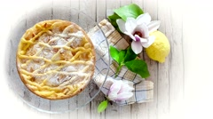 Tuscan Ricotta Cake Stock Footage
