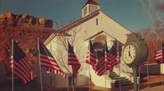 American Flags Flying in Rockville, Utah Stock Footage