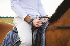 horseback riding on horseback - stock photo