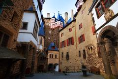Houses in the yard of Eltz castle, Germany Stock Photos