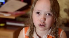 The child cries and ruminates Stock Footage