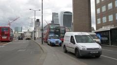 The modern skyscrapers of London seen from London Bridge Stock Footage