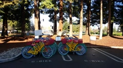 Google bikes in Google campus in Mountain View, CA Stock Footage