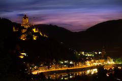 Panorama of Cochem on the mountain and Mosel river Stock Photos