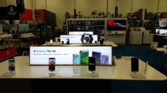Samsung Galaxy S6 edge on display in Best Buy store Stock Footage