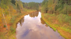 Aerial view of the river in Nommeveski Stock Footage