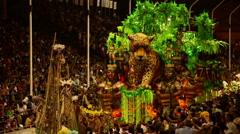 Gualeguaychu carnival parade float with cheetah figure, Argentina Stock Footage