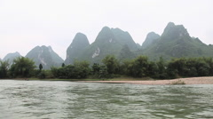 China, guangxi province, li river view from a boat - stock footage
