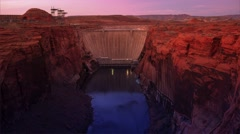 Glen Canyon Dam at Sunset Stock Footage
