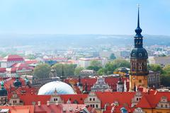 Hausmannsturm and Dresden panorama from above - stock photo