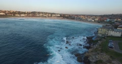 Slow counter clockwise reveal of Bondi Beach from High Vantage Point - stock footage