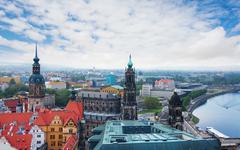 Elba river and panorama of Dresden Stock Photos