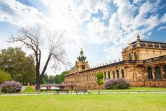 Park and outer view of the Dresden art gallery Stock Photos