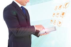 Composite image of mid section of a businessman with arms out - stock photo