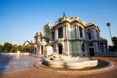 Morning view palace of fine arts, Mexico city - stock photo