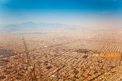 Mexico city outskirts areal view in morning Stock Photos