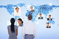 Composite image of wear view of business people Stock Photos
