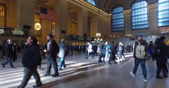 New York City Grand Central station dolly steady gimbal shot people commuters - stock footage