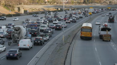 405 Morning Rush Hour with School Bus and Cement Truck Stock Footage