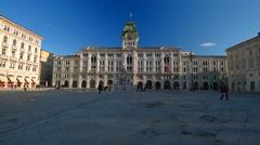 Stock Video Footage of PIAZZA UNITA D ITALIA, TRIESTE, ITALY. Central square of Trieste.