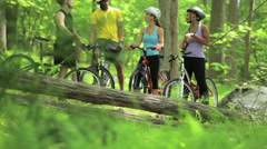 Stock Video Footage of Four cyclists in forest