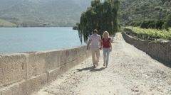 Stock Video Footage of Couple walking hand in hand by river douro