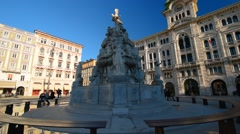 Trieste, Italy. Italian sculptures on the central square of Trieste. Stock Footage