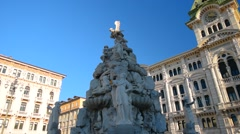 PIAZZA UNITA D ITALIA, TRIESTE, ITALY: Italian sculptures on the central square - stock footage