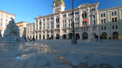 Trieste, Italy, central square of Trieste. Italian architecture - stock footage