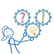 Stickwoman Gears Question Answer - stock illustration