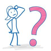 Stickwoman Big Question Stock Illustration