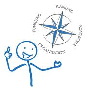 Stickman Planung Konzept Compass - stock illustration