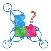 4 Stickman Rectangle Puzzle Question - stock illustration