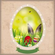 Stock Illustration of Vintage Easter Card Hole Bokeh Hare Ears