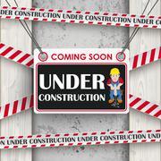 Under Construction Concrete Wood Worker - stock illustration