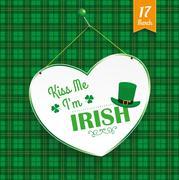 St Patricks Day Heart Kiss Me Tartan - stock illustration