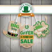 St Patricks Day 3 Carton Price Stickers Wood - stock illustration