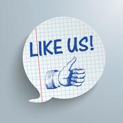 Checked Speech Bubble Like Us - stock illustration
