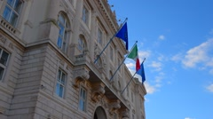 European and Italian Flags. Central square of Triest. Stock Footage