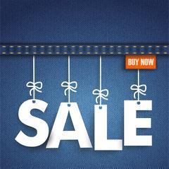Jeans Hanging Letters Sale Orange - stock illustration