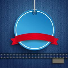 Jeans Circle Price Sticker Ribbon sh - stock illustration