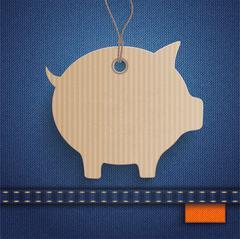 Jeans Carton Piggy Bank Price Sticker Orange Stock Illustration