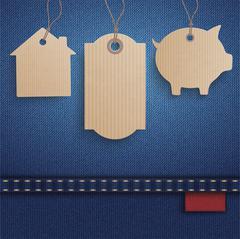 Jeans Carton Home Piggy Bank Labels - stock illustration
