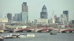 St pauls cathedral and river thames, camera pans to view of blackfriars bridge Stock Footage
