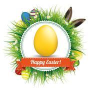 Happy Easter Eggs Hare Ears Emblem Stock Illustration