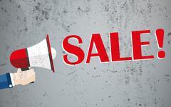 Hand Bullhorn Concrete Sale Stock Illustration
